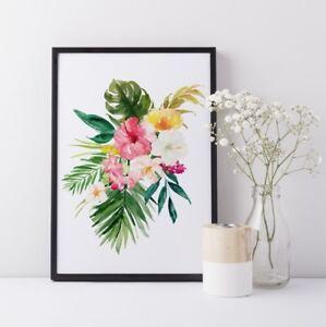 Botanical Poster Tropical Flowers Hibiscus Monstera Banana Leaves Boho Print UK