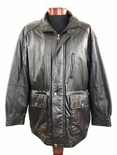 MEMBERS ONLY Leather Coat Mens sz Large Dark Brown Warm Heavy Winter Jacket