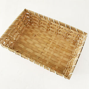Rectangular Wood Woven Basket Display Bread Gift Basket Storage Basket Decor