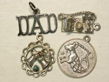 🍁 Vintage Charms Medallions Lot of 4 Silver 92.5% Sterling  Marked #4550