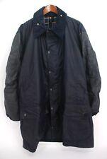 Barbour Border Long Waxed Coat Navy Blue Plaid Lining 46 / 117cm - XL