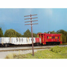 RIX (HO-Scale) #628-0034  Railroad Telephone Poles w/4 Crossarms (Pkg-12) - NIB
