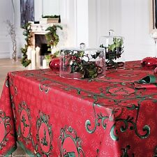 "BEAUVILLE ""WINTER"", RED FRENCH HOLIDAY / CHRISTMAS TABLECLOTH, 67"" x 122"", NEW"