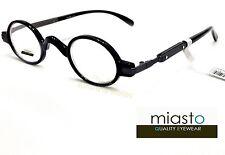 ~LOT OF 2~  MIASTO RETRO MINI SMALL OVAL ROUND READER READING GLASSES+3.00 BLACK