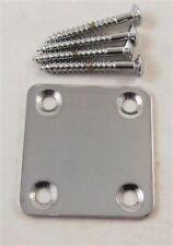 *CHROME*  50mm x 47mm ELECTRIC GUITAR NECK JOINT PLATE & SCREWS