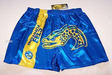 Parramatta Eels NRL Mens Blue Satin Boxer Shorts Size M New