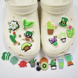 Shoe Decoration Charms Green Leaves Cactus Rose DIY Shoes Decoration Accessor`