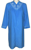 Vintage Sears At Home Wear Med Blue Embroidered Yoke Half Zip Dressing Gown Robe