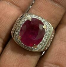 Natural Ruby Gemstone with 925 Sterling Silver Men's Ring