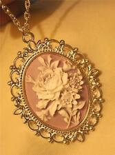 Lovely Lacy Scallop Rim Violet & White Flower Bouquet Silvertn Pendant Necklace