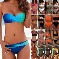 Women Bandeau Bikini Set Push Up Padded Top Thong Swimwear Bathing Suit Swimsuit