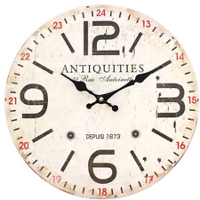 Distressed LOOK Antiquities Wall Clock - Shabby Chic Retro 34cm Rustic Vintage