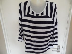 Ladies Blue & White Striped Long Sleeve, Crew Neck Top with Lace Trim Size M