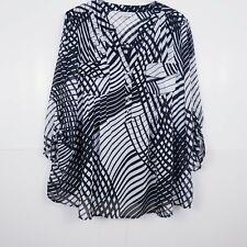 Avenue 2 Piece Cami Sheer Shirt Size 22/24 2X Black White Striped Half Button