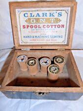 Vintage - Rare - Beautiful - Clarks Spool Cotton Advertising - Black Painted Box