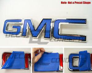 07-20  GMC Sierra Yukon BLUE Carbon Fiber Front Grill Emblem Overlay Kit decal