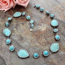 Rhinestone Pave Blue Turquoise Necklace