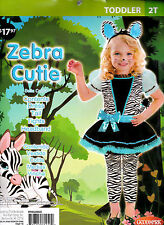 Girl's Zebra Cutie Halloween Costume -Toddler 2T - 26 to 30 Lbs - New - Complete