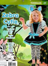 Girl's Zebra Cutie Halloween Costume -Toddler 2T - 26 to 30 Lbs - New - Complete