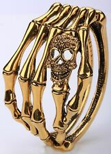 Skull Skeleton Bones Bracelet Bangle Crystal Halloween Jewelry-Unisex Gold BD17