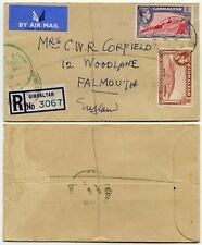 GIBRALTAR REGISTERED AIRMAIL 6d + 1d to FALMOUTH GB + CUSTOMS 91 HANDSTAMP