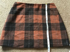 """NEW LADIES BROWN ARGYLE STYLE CHECK SKIRT SIZE 14 L31/"""""""