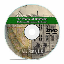 California CA, People, Cities, Family History and Genealogy 27 Books DVD CD V95