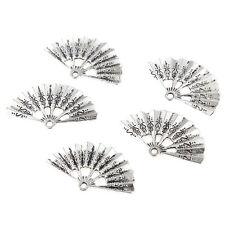 10pcs Folding Fan Beads Tibetan Silver Charms Pendant DIY Necklace 35*21mm