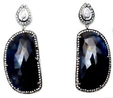 New Design Fashion 925 Sterling Silver Natural Sapphire & CZ Victorian earring