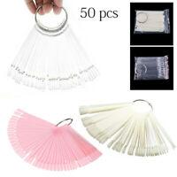 50Pcs False Display Nail Art Fan Wheel Polish Practice Pop Tips Sticks DIY Tool
