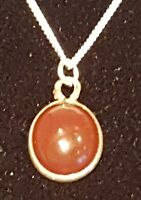 Sterling silver & orange agate stone vintage Art Deco antique pendant necklace