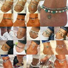 Boho Anklet Bracelet Beach Turtle Pendant Starfish Pearl Crystal Beads Bracelet