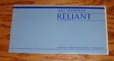 Original 1982 Plymouth Reliant Owners Operators Manual 82