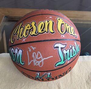 EARLY LEBRON JAMES SIGNED ARTIST GRAFFITI SPAULDING BASKETBALL JSA CERT. 1/1