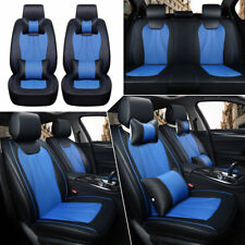 Universal 5 Seats Car SUV 3D Seat Covers Black&Blue Full Front+Rear Cushions Set