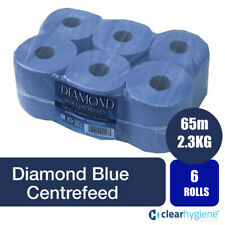 More details for diamond centre feed rolls 6 2ply embossed kitchen paper towel blue roll