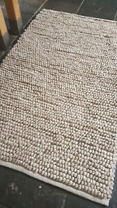 Natural beige bobble 100% Wool super soft highly textured rug Eco friendly
