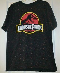 Mens Jurassic Park Black Graphic T-Shirt size 2XL XXL