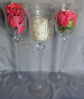 "Candle Holders Tall Clear 14"" Set of 3 Wedding Home Decor Parties"