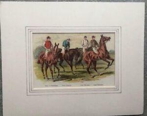 Original Antique Matted Horse Racing 1886 Print Jockey Hasting Machell Cadogan