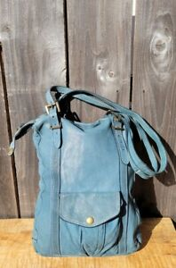 CAMPOMAGGI MADE IN ITALY BUTTERY SOFT SKY BLUE LEATHER SHOULDER BAG