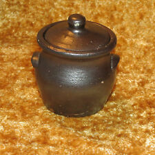 "CRUDE HANDCRAFTED VINTAGE HONEY/CONDIMENT POT WITH LID 4"" TALL 3 1/2"" DIAMETER"