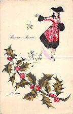 <A18> ARTIST SIGNED Postcard XAVIER SAGER Art Nouveau c1918 HAPPY NEW YEAR 15