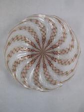 Old Salviati Latticino Plate Glass Gold Aventurine Zanfirico Murano Underplate