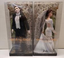 2011 Twilight Saga Breaking Dawn Barbie Bella & Edward Wedding Figures New