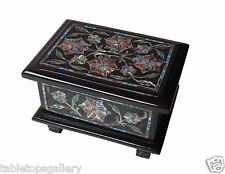 Belgium Black Marble Real Jewelry Box Gems Floral Arts Wedding Decor Gifts H1318