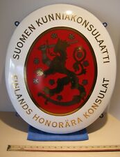 Genuine FINLANDS EMBASSY CONSULATE PORCELAIN SIGN 1983 KONSULAT