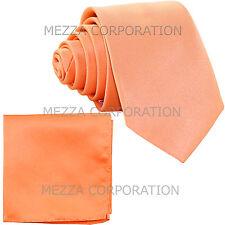 "New Polyester Men's 2.5"" Neck Tie & hankie formal wedding prom party peach"
