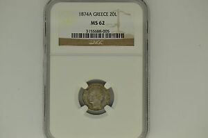 Greece: 1874-A 20 Lepta- NGC MS-62.