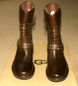 Ugg Australia Brown Leather Conar Biker  Boots UK Size 4.5  Brand New  RP £162